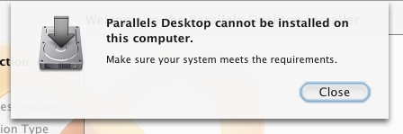 Parallels Error Message
